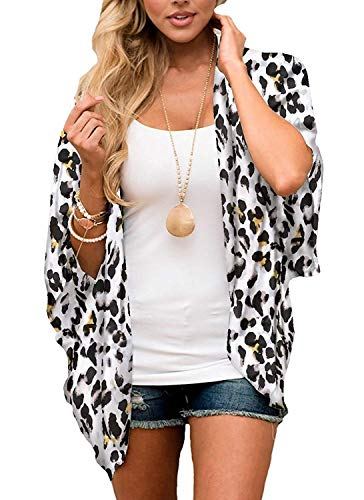 Wrap Front Pant - Women's 3/4 Sleeve Floral Kimono Cardigan, Sheer Loose Shawl Capes, Chiffon Beach Cover-Up, Casual Blouse Tops (C32-White Leopard, Medium)