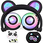 iGeeKid Kids Headphones Bear Ear LED Backlight USB Rechargeable Wired On/Over Ear Gaming Headsets 85dB Volume Limited 3.5mm Jack Headset for Girls Boys Kids Tablet Phone Android PC Travel School Black