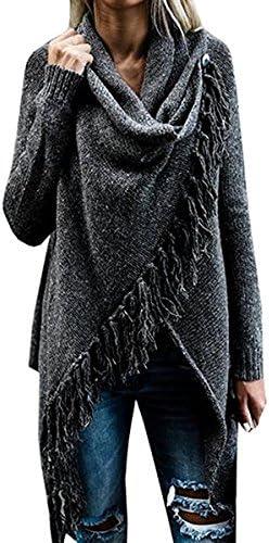 Fantastic zona de la mujer manga larga Speckled Flecos Frente Abierto chaqueta de punto Sweaters Para Las Mujeres