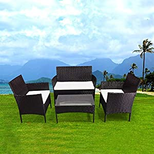 bigzzia Rattan Garden Furniture Set, 4 piece Patio Rattan furniture sofa Weaving Wicker includes 2 Armchairs,1 Double…