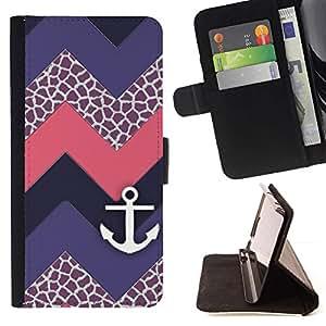 For HTC Desire 820 Case , Chevron púrpura del velero- la tarjeta de Crédito Slots PU Funda de cuero Monedero caso cubierta de piel