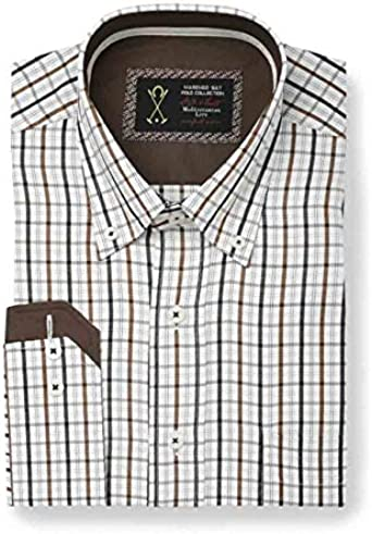 Camisa Manga Larga Color Blanco, con Estampado de Cuadros pequeños de Color Chocolate y Negro - 5_XL, Chocolate: Amazon.es: Ropa y accesorios