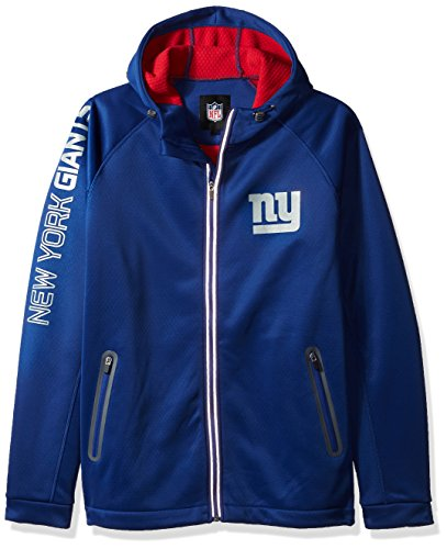 Zipper Jacket Football Nfl - G-III Sports NFL New York Giants Motion Full Zip Hooded Jacket, Large, Royal