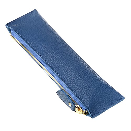 BTSKY Genuine Leather Pencil Case - Zippered Pen Case Stationery Bag Zipper Pouch Pencil Holder(Blue)