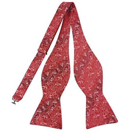 Pensee Mens Self Bow Tie Red & Grey Floral Jacquard Woven Silk Bow Ties