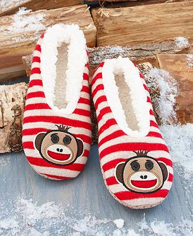 Critter Monkey - Sherpa-Lined Critter Slippers (Monkey M/L 8.5-10)