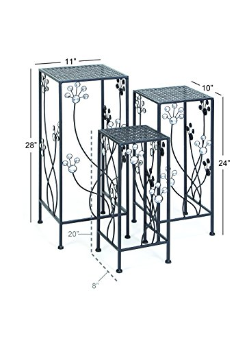Deco 79 63344 3-Piece Metal Outdoor Plant Stand Set, Square by Deco 79 (Image #2)