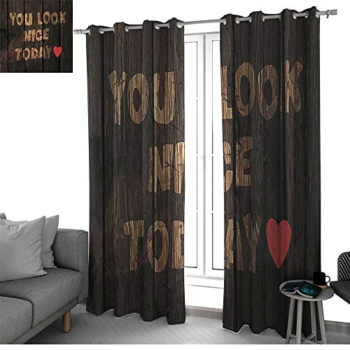 (Benmo House Quotes Decor Collection Thermal Insulating Window Curtains Phrase On Wooden Planks You Look Nice Today Heart Inspiring Happiness Print Country Curtain Wood Brown Red W108 x L84 Inch)