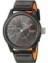 Men's Rasp Black IP and Black Leather Watch DZ1845