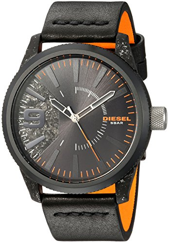 Diesel Men's Rasp Black IP and Black Leather Watch DZ1845