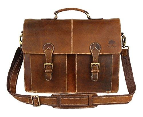 (Leather Shoulder-Briefcase Messenger Bag Mens Handmade 16 inch Laptop-Satchel)