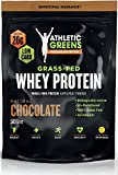 Athletic Greens Grass-Fed Whey Protein, Natural Chocolate – Deliciously Smooth Protein Shake, 100% Grass-Fed (No Hormones, Certified No GMOs), 20g of Protein Per Serving, 583 grams
