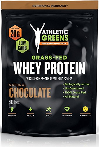 Athletic Greens Grass-Fed Whey Protein, Natural Chocolate - Deliciously Smooth Protein Shake, 100% Grass-Fed (No Hormones, Certified No GMOs), 20g of Protein Per Serving, 583 grams
