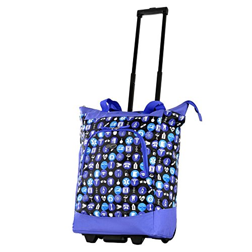 Olympia Deluxe Rolling Shopper Travel Tote Purple One Size ()