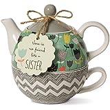 Bloom Pavilion Gift Company 74069 Sister Ceramic Tea for One, 15 Oz, Multicolor
