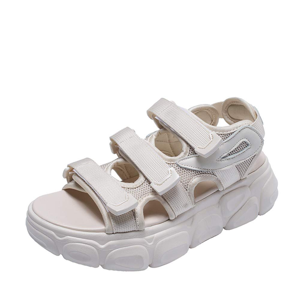 Fastbot Women's Summer Sandals Open Toe Casual Comfort Ladies Sport Neutral Solid Platforms Shoes Beige