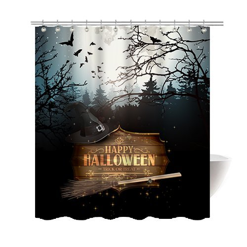 Gwein Halloween Night Theme Happy Halloween Party Decorative Bathroom Mildew Resistant Fabric Shower Curtain Waterproof Antibacterial Shower Room Decor Shower Curtains 72 x 72