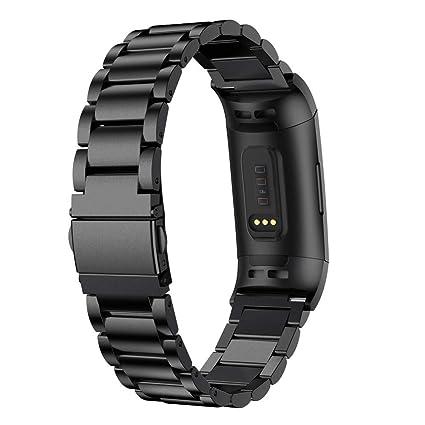Cooljun pour Fitbit Charge 3,Bracelet en Acier Inoxydable de Remplacement Bande de Montre Intelligent