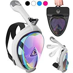 Our Full Face snorkeling mask allows you to breathe underwater as you would on land & keeps face dry. With this professional oceanview snorkeling kit, you can breathe through your mouth & nose while you have 180 degree of visio...