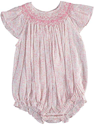 Carriage Boutique Baby Girls Dainty Floral Pink - Bubble Smocked