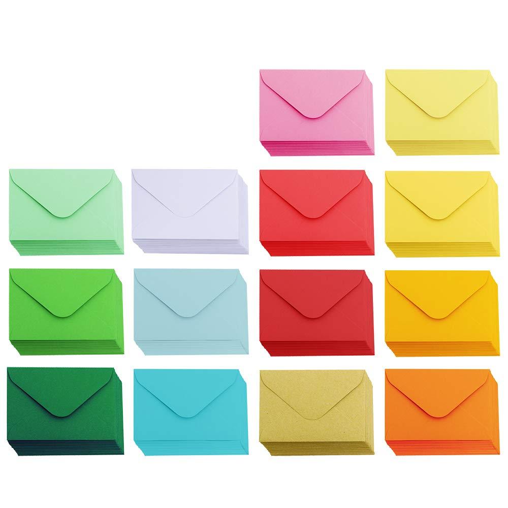 Supla 140 Pcs Mini Envelopes 14 Colors Gift Card Envelopes 4'' x 2.7'' Pocket Envelope Business Card Envelopes Valentine's Day Assortment Little Envelopes Love Notes