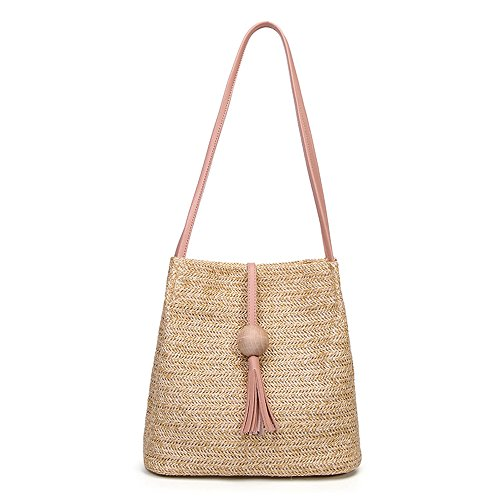 Clearance Sale! ZOMUSAR Fashion Weave Wooden Beads Tassels Shoulder Crossbody Bags for Women Bucket Bag Small Purse (Pink)]()