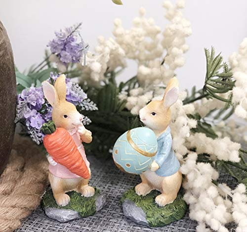 polyresin bunny with carrot decorations spring easter decors figurines tabletopper accessories for party home holiday