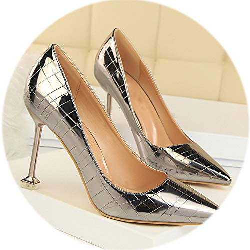 (Hot Sexy Stone Pattern Party Shoes Women's Pumps Pointed Toe Patent Leather High Heels)