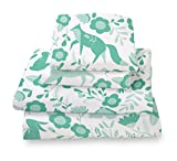 Seafoam Green Folktale Forest Animals Queen Size Sheet Set, Soft sheets for Deep Matresses, 4 piece Full Size Set in White and Teal