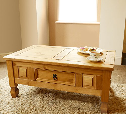 Mews Corona 1 Drawer Coffee Table, Mexican Pine