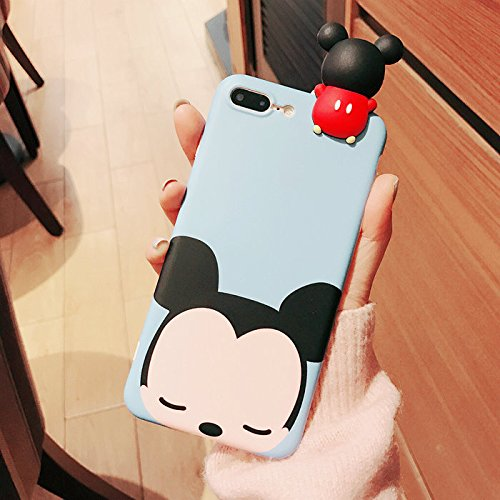 Case for iPhone 7Plus / 8Plus Large Size 5.5 Soft TPU Slim Thin Fit Blue Mickey Mouse 3D Doll Disney Cartoon Cute Lovely Special Kawaii Shockproof Gift Boys Kids Little Girls Women iPhone 7+ 8+