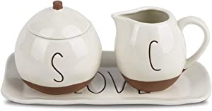 Sugar and Creamer Set, NEWANOVI Ceramic American Rural Style Cream and Sugar Set with DecorativePlates, Sugar Bowl with Lid, Coffee Serving Set, Cream Jug Sugar Jar