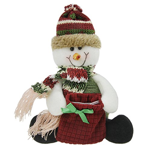 (Christmas Holiday Decor Plush Shelf Sitter Sitting Snowman Santa Claus Deer Gift Cute Doll Toy Craft for Kids )