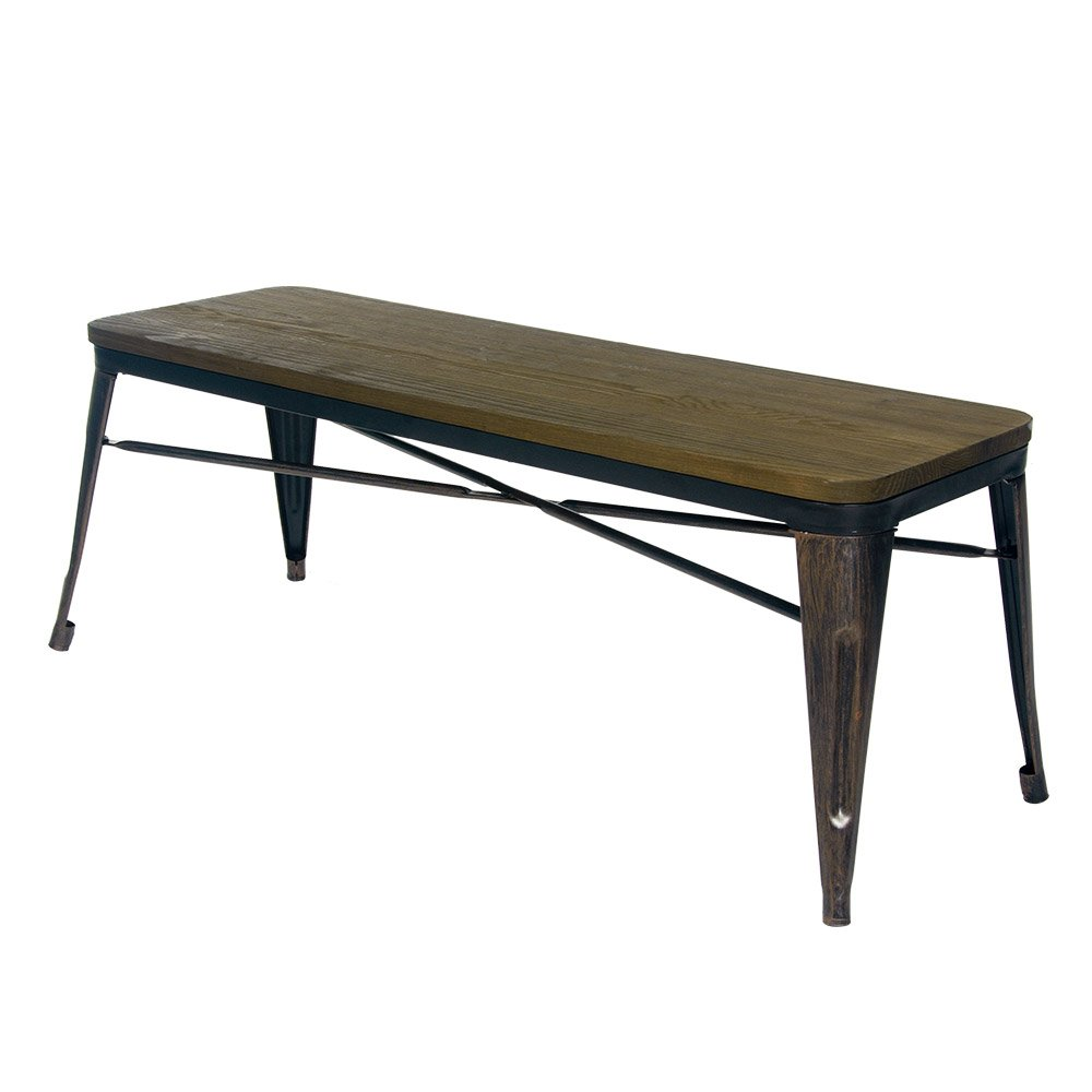 table benches  amazoncom - merax stylish distressed dining table bench with wood seat panel and metallegs golden black