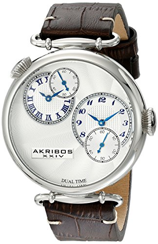 Akribos XXIV Men's AK796SSBR Dual Time Quartz Movement Watch with Silver Dial and Dark Brown with Cream Stitching Leather Strap