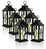 Banberry Designs Decorative Lanterns - Set of 6 Antique Bronze Decorative Lantern with a Flameless LED Pillar Candle and 5 Hour Timer - Outdoor Lighting - 13'' H