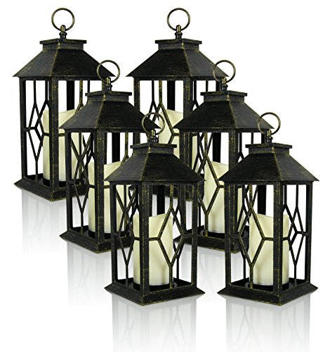 Banberry Designs Decorative Lanterns - Set of 6 Antique Bronze Decorative Lantern with a Flameless LED Pillar Candle and 5 Hour Timer - Outdoor Lighting - 13'' H by Banberry Designs