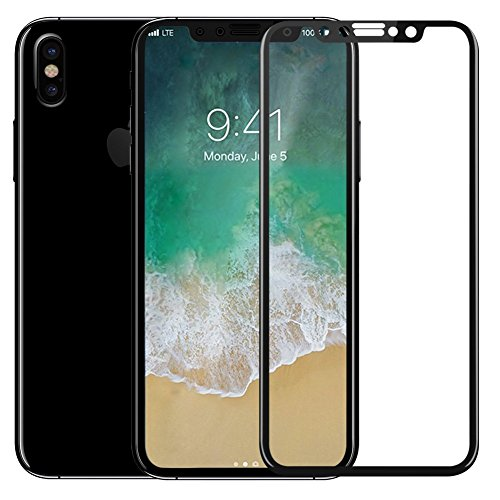 iPhone X Screen Protector Glass [ 5D Full Frame ] Technology Premium Tempered 9H Hardness 2.5D PET [Soft Edge Hybrid] Super Easy Apply for iPhone 10 / X [Black Edge]