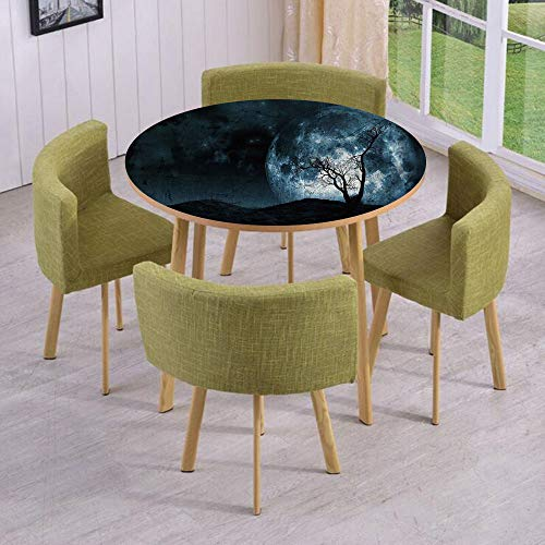 iPrint Round Table/Wall/Floor Decal Strikers/Removable/Night Moon Sky with Tree Silhouette Gothic Halloween Colors Scary Artsy Background/for Living Room/Kitchens/Office Decoration ()