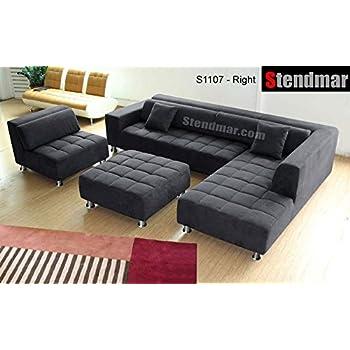 4pc modern dark grey microfiber sectional sofa chaise chair ottoman s1107rdg