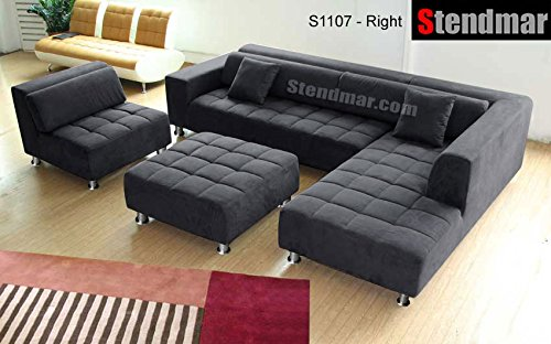 Stendmar 4pc Modern Dark Grey Microfiber Sectional Sofa Chaise Chair  Ottoman S1107RDG