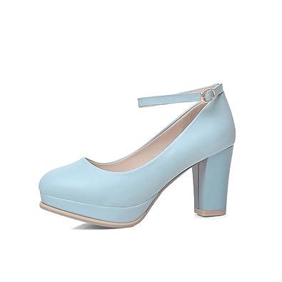 033d84270 Women's Wide Width Heel Pump-Ankle Buckle Strap Heel Close Toe Stilleto  Platform Mary-
