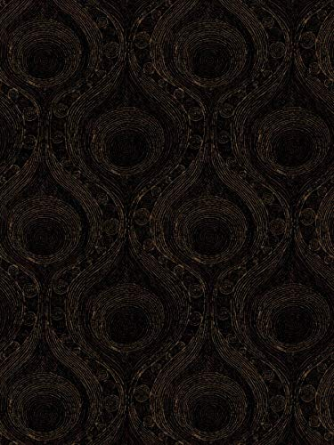 - Onyx Black Contemporary Modern Scrollwork Dots Circles Wovens Chenille Upholstery decorative Upholstery Fabric by the yard