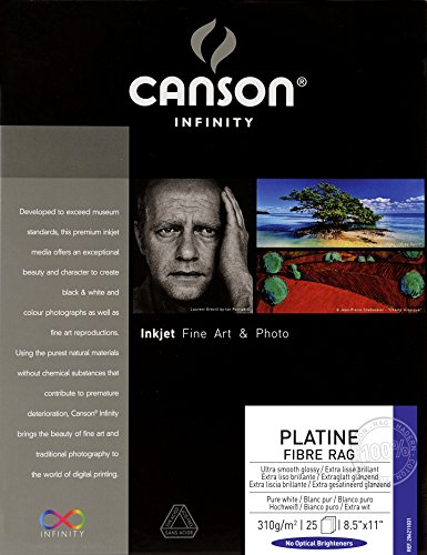 (Canson Infinity Platine Fibre Rag Fine Art Paper, 310 Gram , 8.5 x 11 Inch, 25 Sheets (206211031))