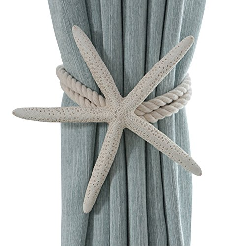 ZILucky 2 Pieces Natural Starfish Curtain Tiebacks Rope Drape Tie Band Drapery Holdbacks Room Décor (Patio Beach Themed)