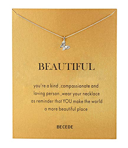 ALEAD Fashion Simple Silver Butterfly Pendant Necklace with Message Card Gift Card Butterfly Lovers Gift (Butterfly-Silver)