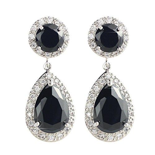 black and crystal drop earrings - 5