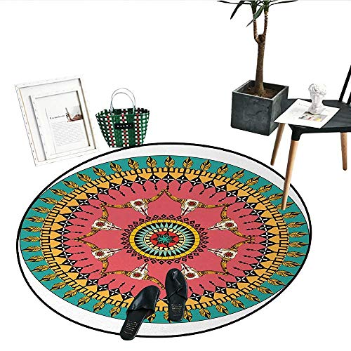 Arrow Round Rug Kid Carpet Traditional Native American Ornate Arrow Bull Skull and Feather Pattern Ethnic Round Perfect for Any Room, Floor Carpet (32