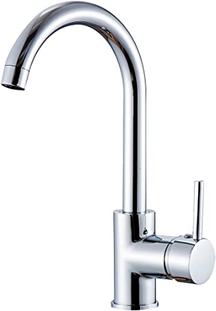 Fapully Contemporary Compact Kitchen Sink Faucet 12 inch Tall Mixer Taps  Bar Sink Faucet Chrome 100058