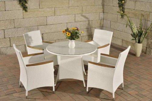 CLP Sitzgruppe SANREMO aus Polyrattan & Aluminium (4 Stühle mit rundem Tisch Ø 100 cm) INKL. bequeme Sitzkissen, bis zu 4 Farben wählbar weiß